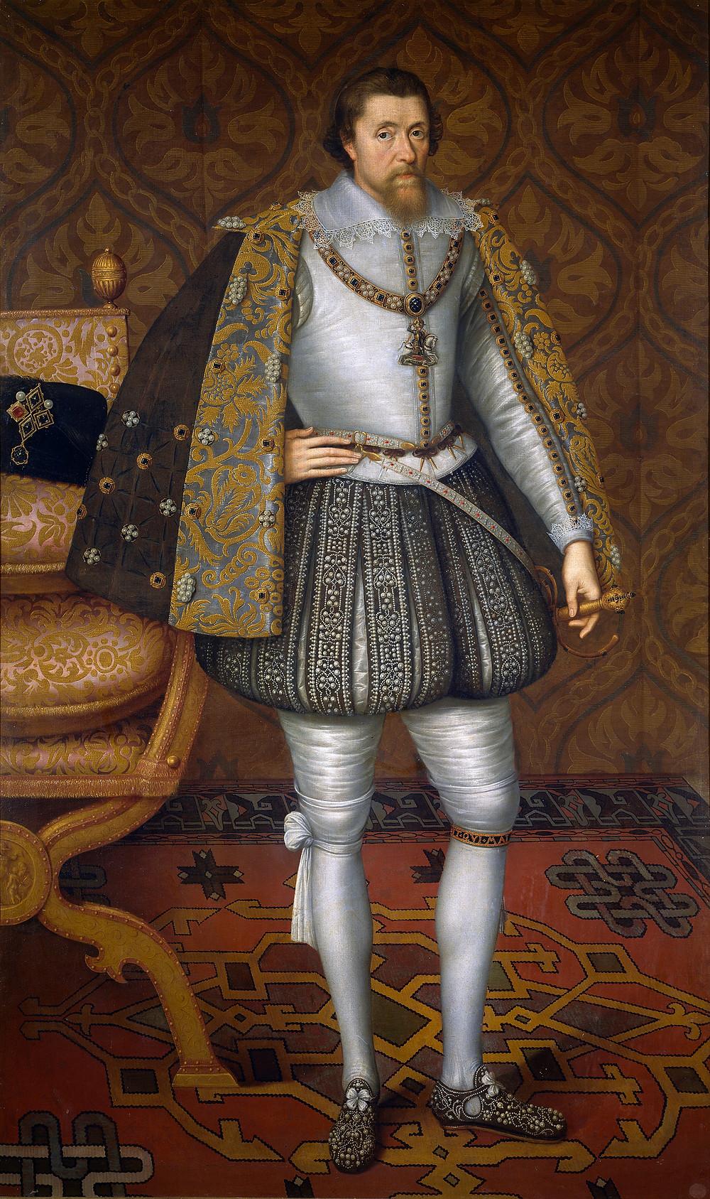 King James VI & I portrait painting by John de Critz, c.1605
