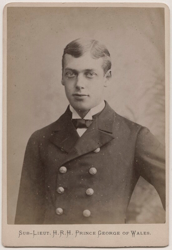 King George V, when Prince George of Wales pictured in Royal Navy uniform. He served at various times in the navy from twelve years of age.