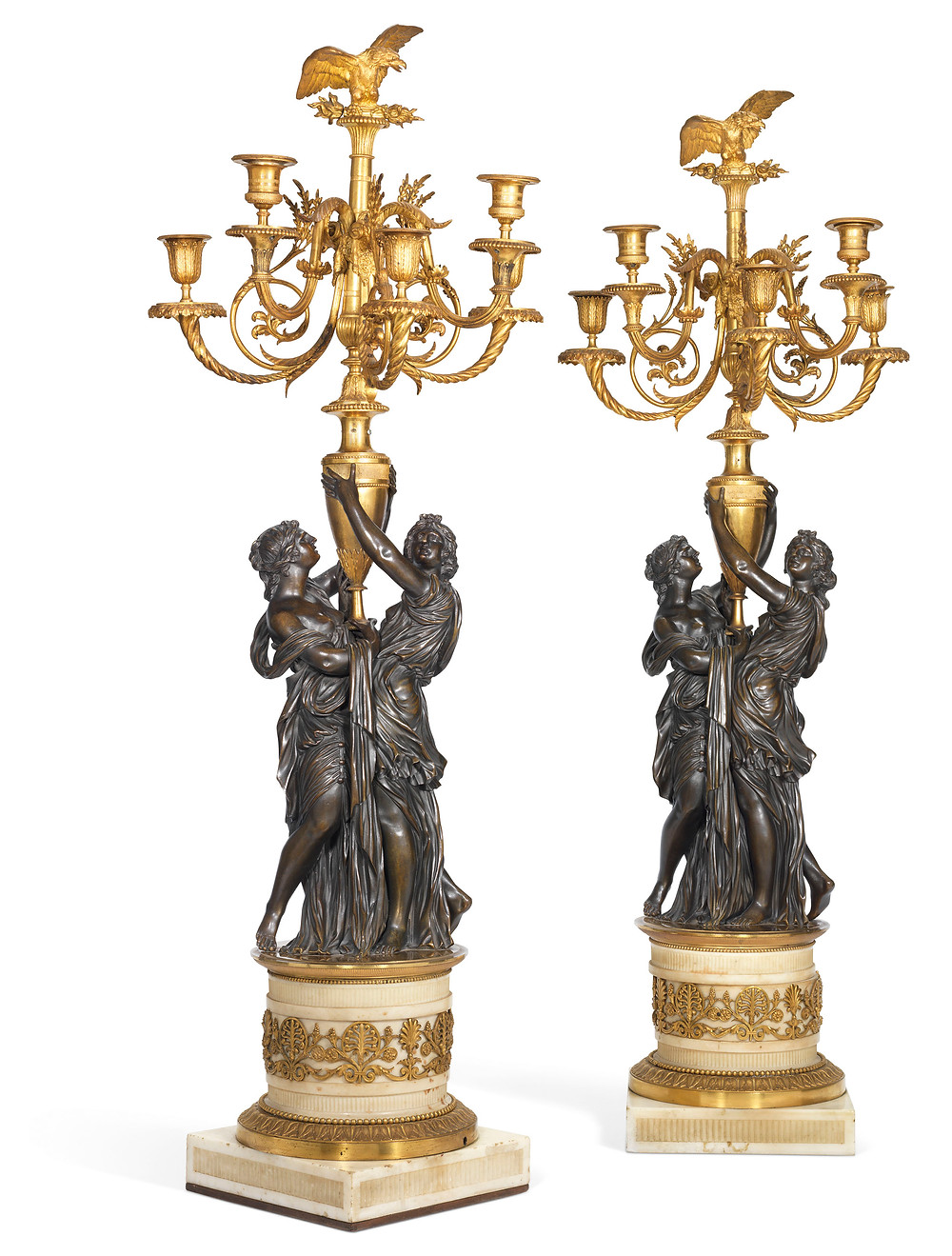 A PAIR OF LOUIS XVI ORMOLU, PATINATED-BRONZE AND WHITE MARBLE FIVE-LIGHT CANDELABRA   CIRCA 1790, AFTER A MODEL BY ETIENNE-MAURICE FALCONET, POSSIBLY BY FRANÇOIS REMOND . Historic antiques, royal history, royal sale at christies.com
