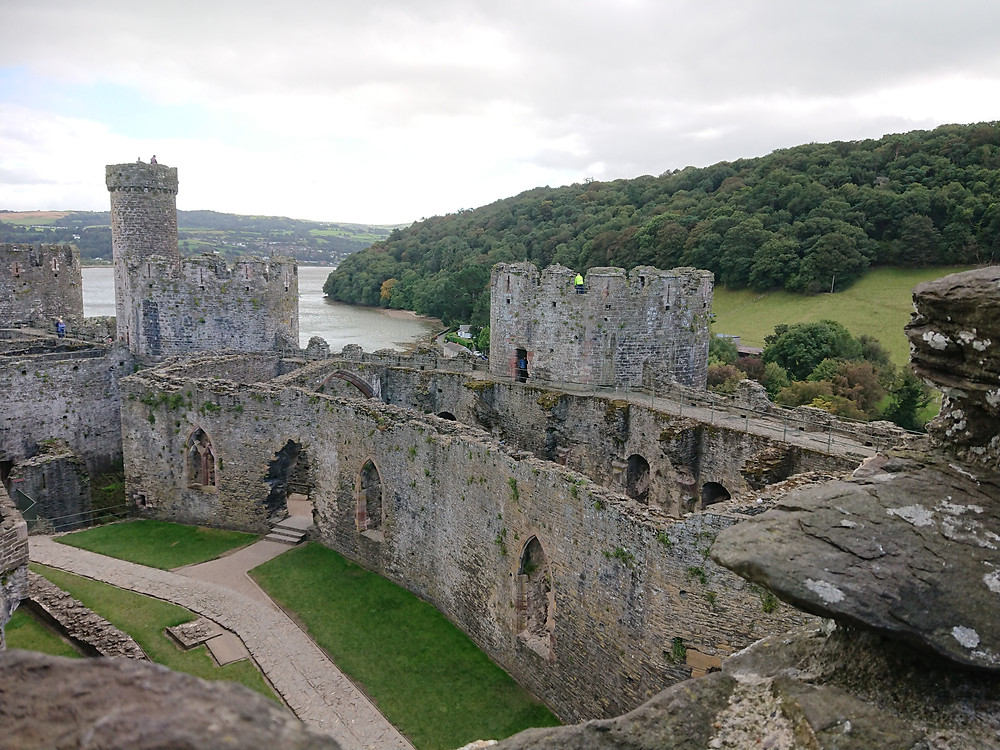 views from the North-West Tower of the outer ward, Great Hall & chapel. of Conwy castle, Conwy, North Wales