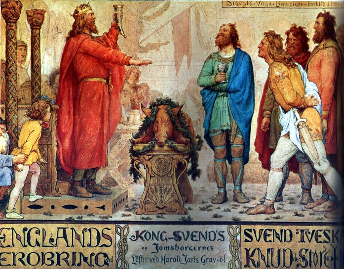 Sweyn Forkbeard & the Jomsvikings at the funeral ale of his father Harald Bluetooth. Painting by Lorenz Frølich. Forkbeard was a viking warlord who invaded England on numerous occasions, finally taking the kingdom from Ethelred the Unready in 1013.