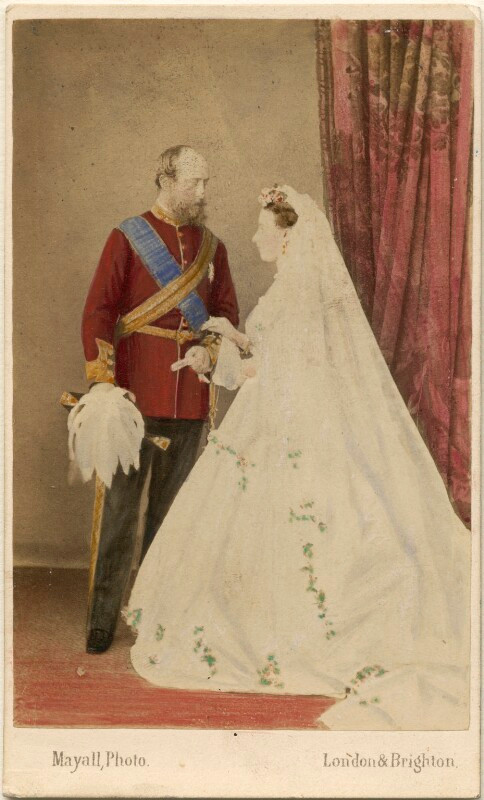 Prince Christian of Schleswig-Holstein; Princess Helena on their wedding day, 1866