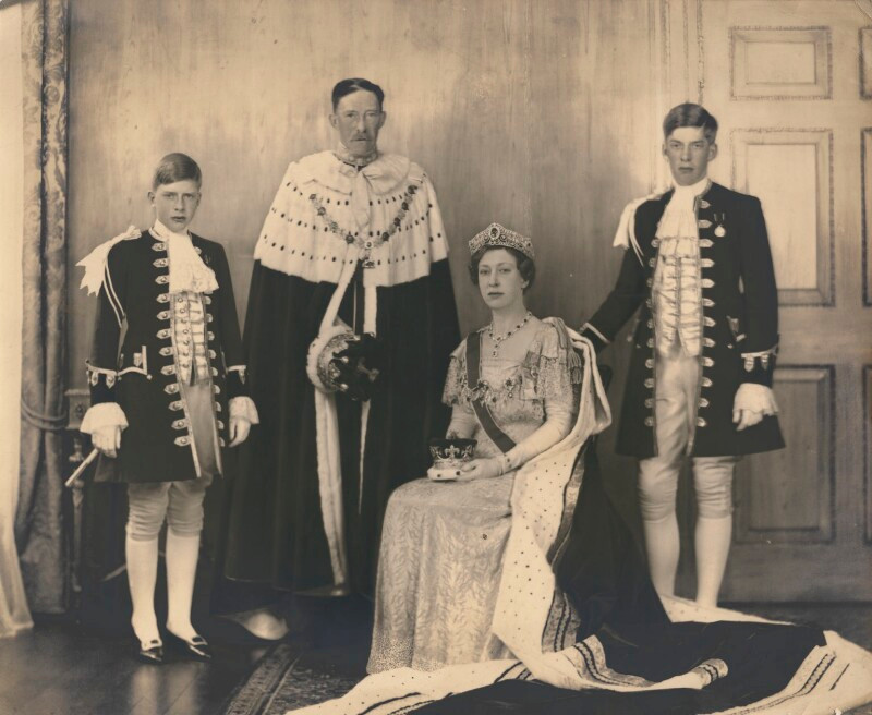 photograph of Princess Mary & her family at the George VI coronation 1937. Royal family history. westminster. British monarchy. © National Portrait Gallery, London