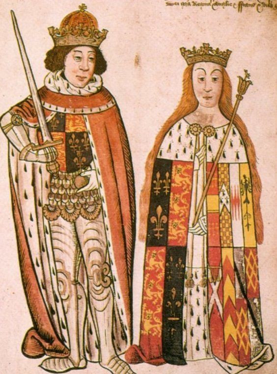 Illuminated scroll of Queen Anne Neville and King Richard III of England.