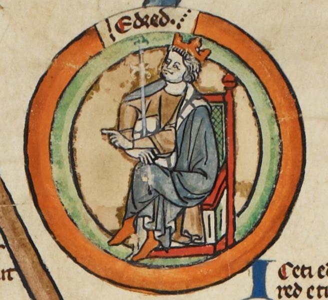 Miniature d'Eadred d'Angleterre dans une généalogie royale du XIVe siècle... Eadred, king of the English