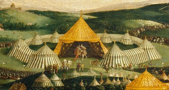 The luxurious gold tent where king henry VIII & king Francis I met during the Field of the cloth of gold, in 1520