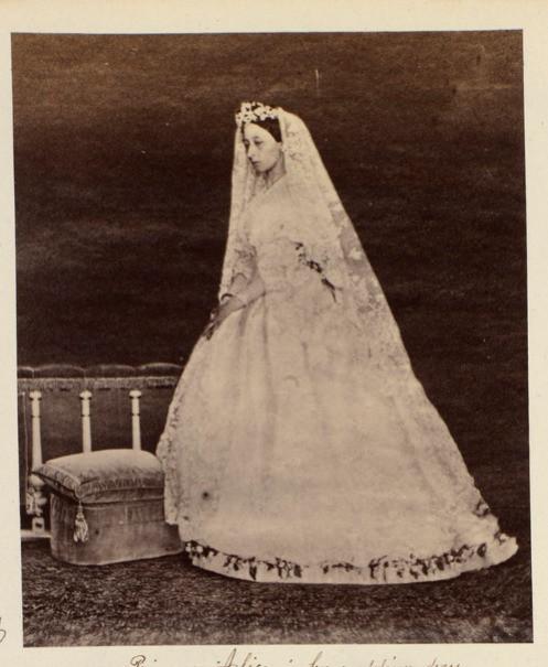 Princess Alice, daughter of Queen Victoria in her wedding dress.