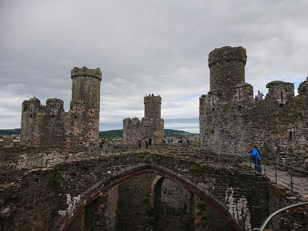 Views of the inside of Conwy castle, North Wales. Royal history, medieval castle, built by Plantagenet king Edward I of England