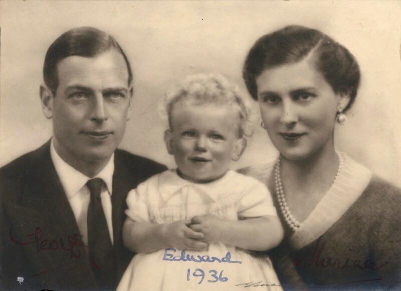 Prince George, Duke of Kent; Prince Edward, Duke of Kent; Princess Marina, Duchess of Kent  by Unknown photographer bromide print, 1936 NPG x182255  © National Portrait Gallery, London