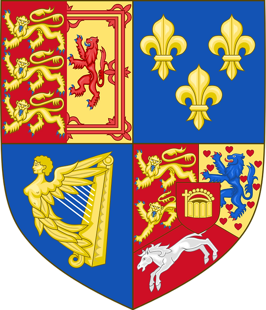 George I, II & III Royal Arms of Great Britain, France, Ireland, Hanover, & Brunswick