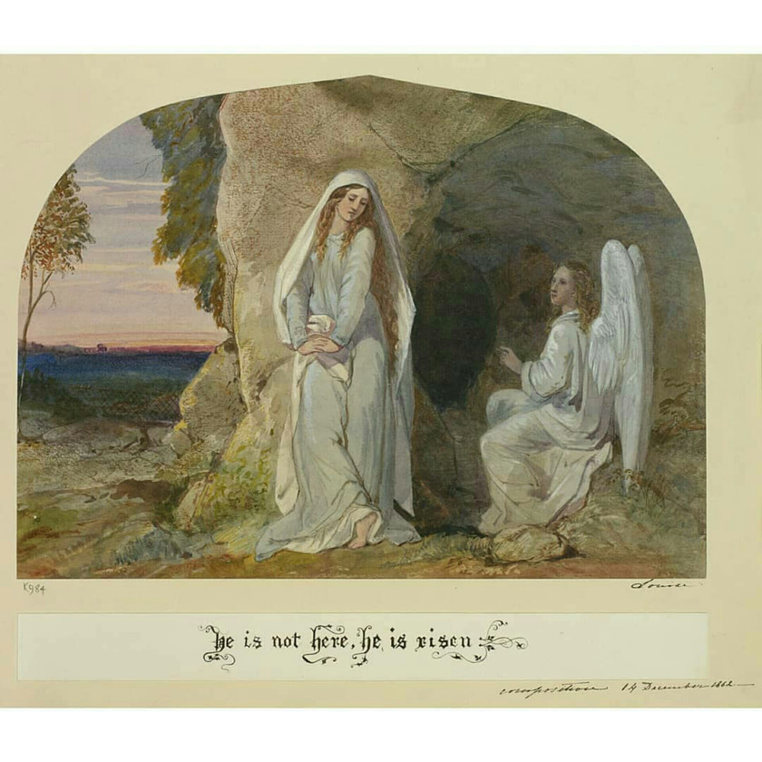 'Mary Magdalen & an angel outside Christ's open tomb', 14 Dec 1862
