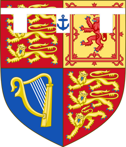 Shield of arms of Prince Andrew, Duke of York, a son of Queen Elizabeth II & Prince Philip