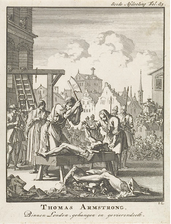 Engraving of the execution of Sir Thomas Armstrong in 1684