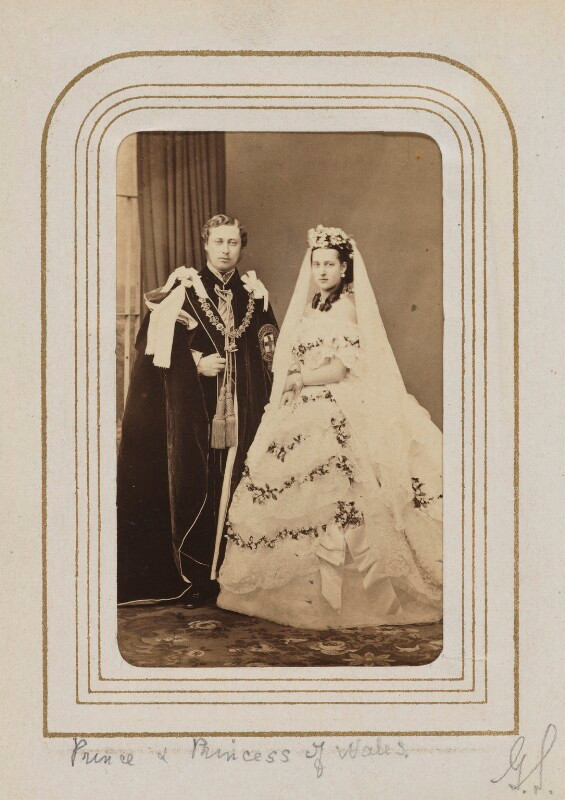 King Edward VII; Queen Alexandra  by John Jabez Edwin Mayall albumen carte-de-visite, 18 March 1863 3 5/8 in. x 2 3/8 in. (91 mm x 60 mm) image size Given by Algernon Graves, 1916 Photographs Collection NPG Ax24156