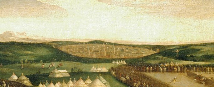 The French camp; In the distance is the town of Ardres, where the French were staying during the event. This painting, attributed to the British School, was likely commissioned by King Henry to not only commemorate the Field of Cloth & Gold, but to also highlight the lavishness of the English camp compared to the French.