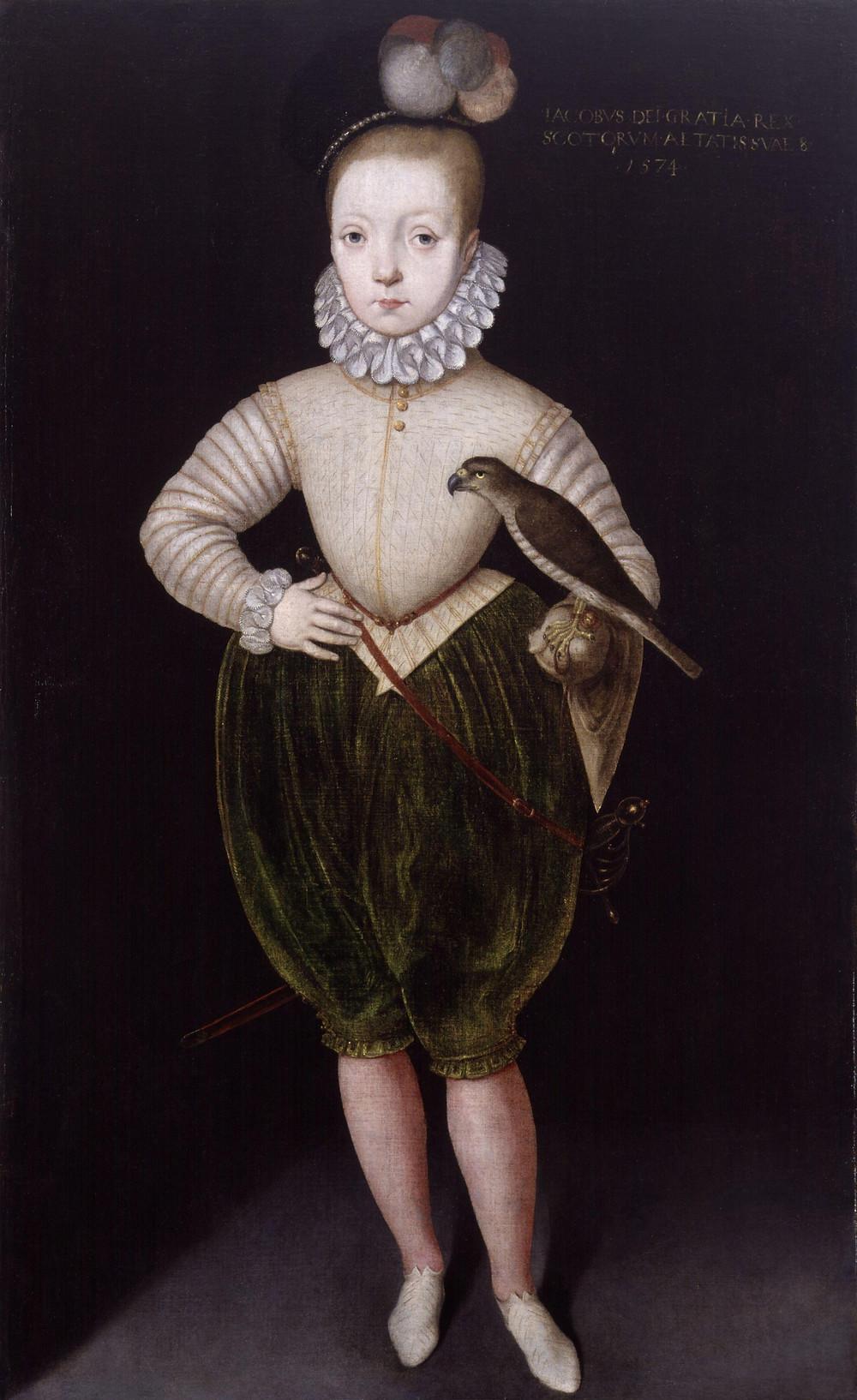 Portrait of King James VI & I  as a boy, after Arnold Bronckorst, 1574. National Portrait Gallery, London.