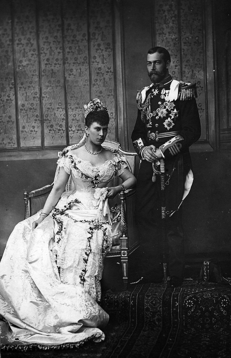 George V & Queen Mary , on their wedding day in 1893. They married on 6 July 1893 at the Chapel Royal in St James's Palace, London. They had six children, Edward VIII, George VI, Princess Mary, Prince Henry, Prince George & Prince John.