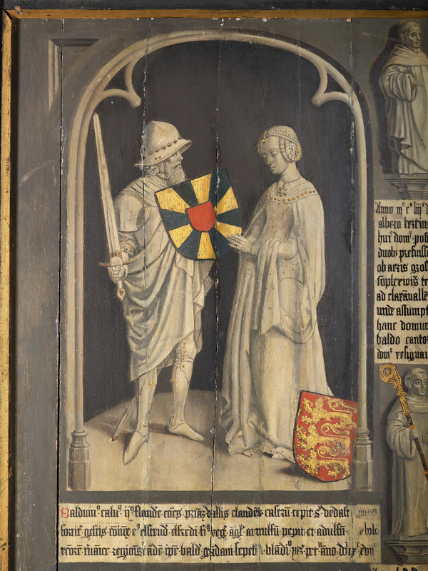 15th century depiction of Baldwin II of Flanders and Ælfthryth of Wessex
