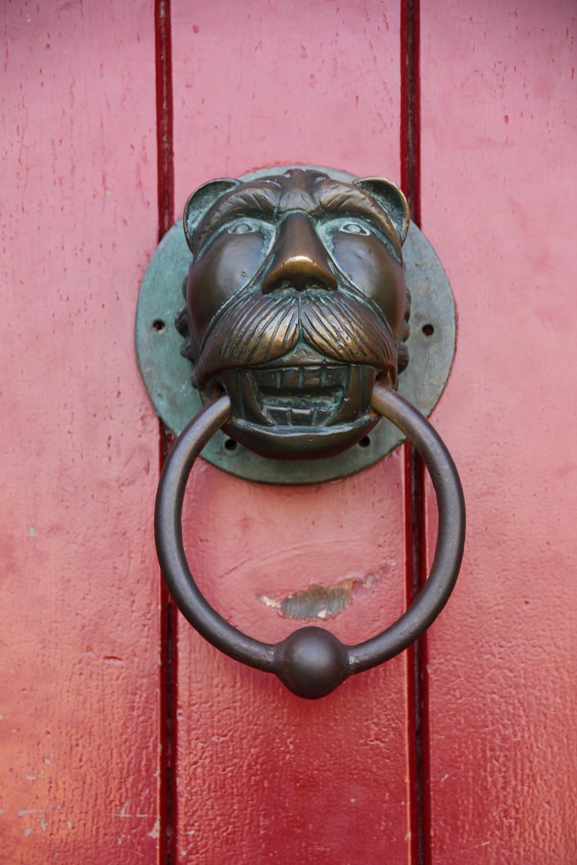 Red door with Lion head door knocker