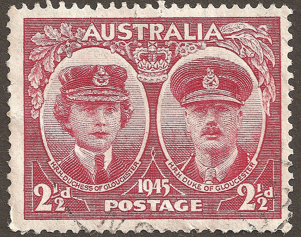 Stamp of Australia, 1945, showing the Duke and Duchess of Gloucester, when the Duke became Governor-General