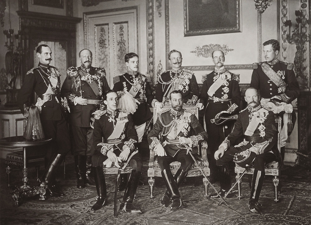 he Nine Sovereigns at Windsor for the funeral of King Edward VII, photographed on 20 May 1910. Standing, from left to right: King Haakon VII of Norway, Tsar Ferdinand of the Bulgarians, King Manuel II of Portugal and the Algarve, Kaiser Wilhelm II of Germany and Prussia, King George I of the Hellenes and King Albert I of the Belgians. Seated, from left to right: Alfonso XIII of Spain, King George V & Frederick VIII of Denmark.