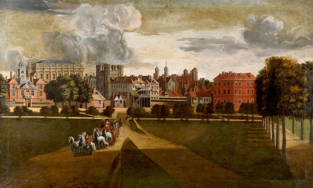 """The Old Palace of Whitehall The view is from the west, in St. James's Park. The Horse Guards barracks are on the extreme left, with the taller Banqueting House behind it. The four-towered building left of centre is the palace gatehouse, the """"Holbein Gate"""""""
