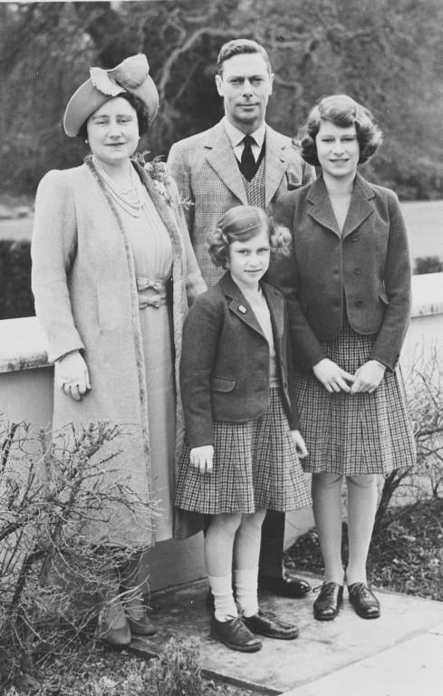 King George VI, Queen Elizabeth & Princess Elizabeth later Queen Elizabeth II & Princess Margaret photograph. Royal Family