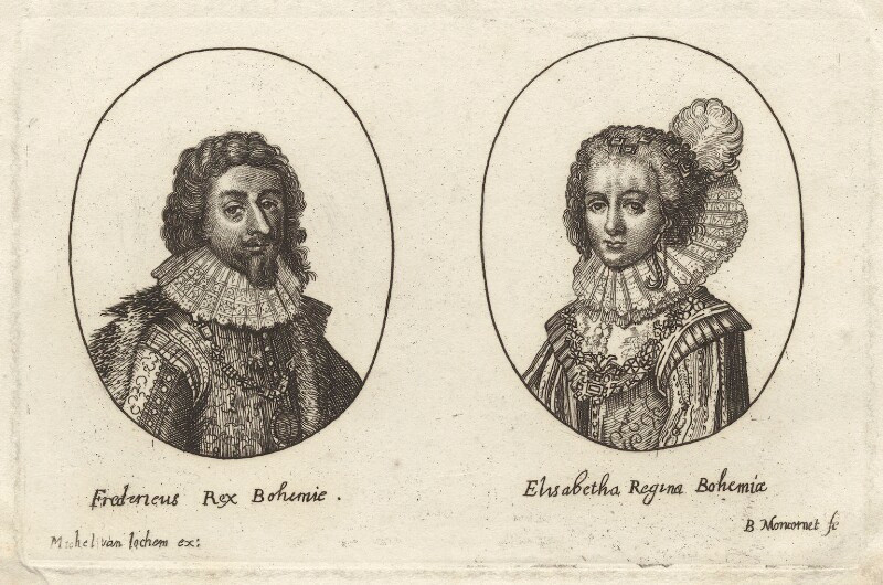 Frederick V, King of Bohemia and Elector Palatine and Princess Elizabeth, Queen of Bohemia and Electress Palatine  possibly by Balthasar Moncornet, after Unknown artist line engraving, early 17th century NPG D26454  © National Portrait Gallery, London