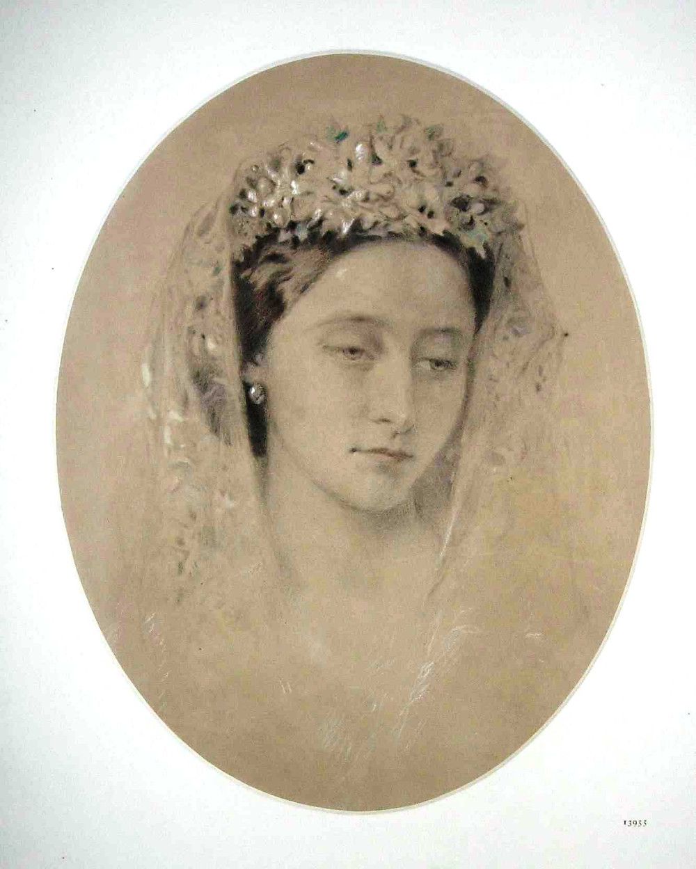 Princess Alice, wearing her wedding veil drawn 1862 by Charles Martin. Royal Collection Trust/© Her Majesty Queen Elizabeth II 2020