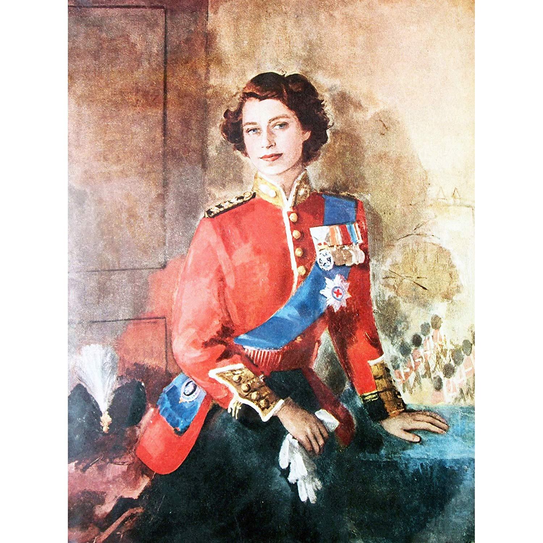 Queen Elizabeth Ii England Painting Portrait Canvas Art Prints