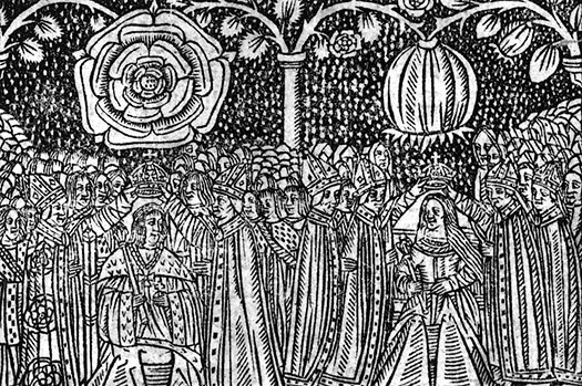 16th century woodcut of the coronation of Henry VIII of England and Catherine of Aragon showing their heraldic badges, the Tudor Rose and the Pomegranate of Granada