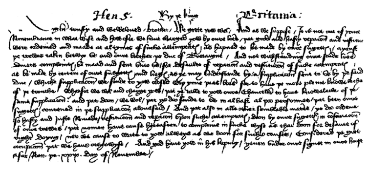Historic document. English chancery hand. Facsimile of letter from king Henry V of England, 1418