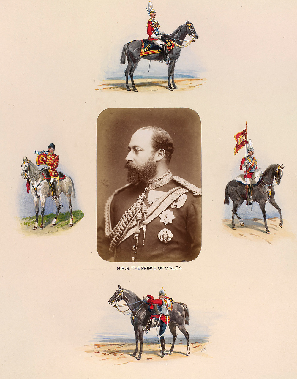 Half-length photograph of Albert Edward, Prince of Wales, later King Edward VII. He is looking to the left and is wearing the uniform of the Household Cavalry. He is wearing the Order of the Garter and the Order of the Bath. The photograph is surrounded by four watercolour illustrations of mounted soldiers painted by the military artist Orlando Norie.