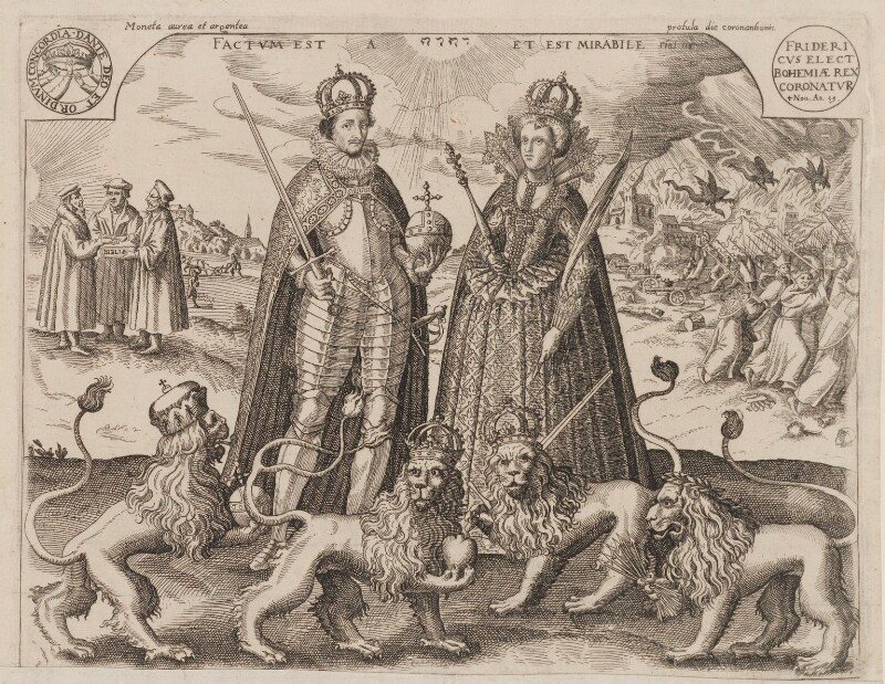 Frederick V, King of Bohemia and Elector Palatine; Princess Elizabeth, Queen of Bohemia and Electress Palatine  after Unknown artist etching and woodcut, 1619 NPG D9482  © National Portrait Gallery, London