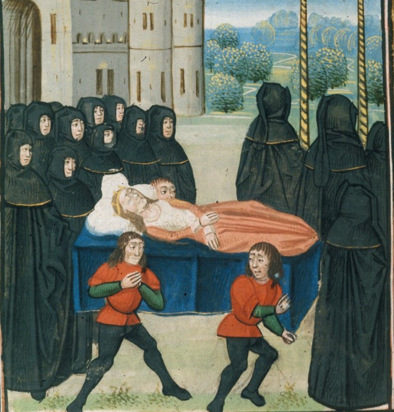 Funeral depiction of Anne of Bohemia, Queen of England, the wife of king Richard II