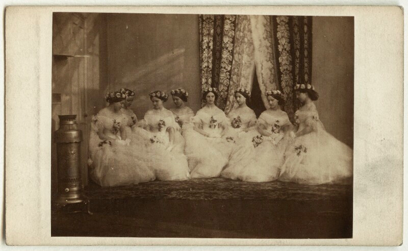 The bridesmaids of Alexandra of Denmark  by Unknown photographer albumen carte-de-visite, March 1863 2 1/4 in. x 3 1/8 in. (58 mm x 80 mm) image size acquired NPG x33255