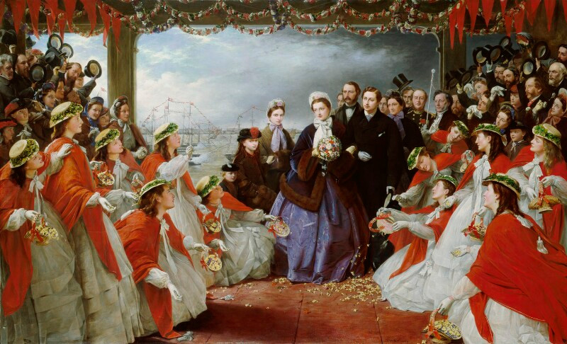 The Landing of HRH The Princess Alexandra at Gravesend, 7th March 1863  by Henry Nelson O'Neil oil on canvas, 1864 52 in. x 84 in. (1321 mm x 2134 mm) Purchased, 1982 Primary Collection NPG 5487