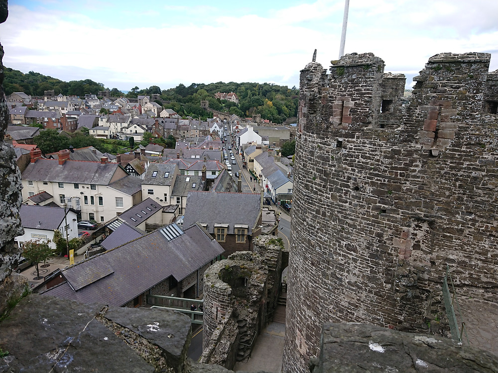 Vies of Conwy from Conwy castle, by the Chapel Tower. Conwy castle is a medieval castle built by King Edward I of England