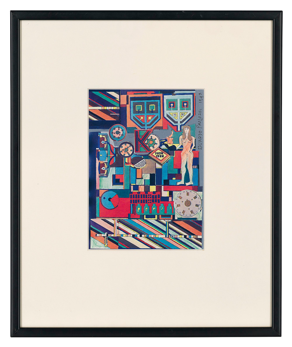 Artwork, painting. Sir Eduardo Paolozzi, R.A. (1924-2005)  Charity Opera Factory .Royal family history collections. british monarchy