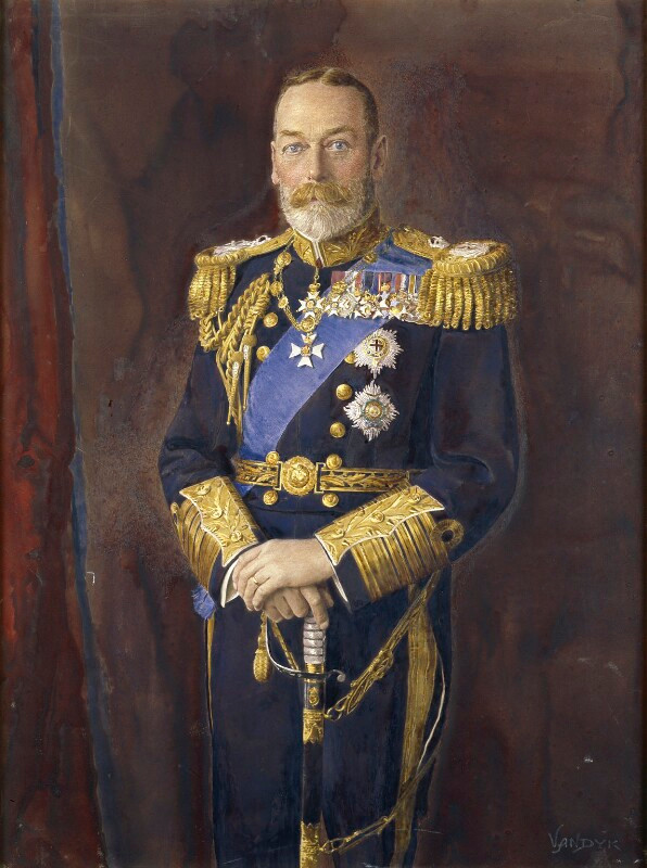 King George V in military uniform, portrait painting