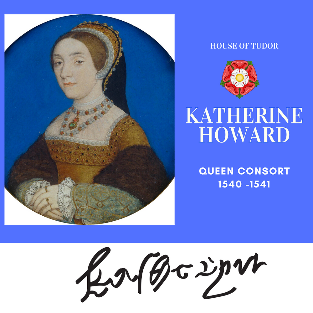 Katherine Howard, Queen of England as the fifth wife of Henry VIII. Tudor rose. royal history