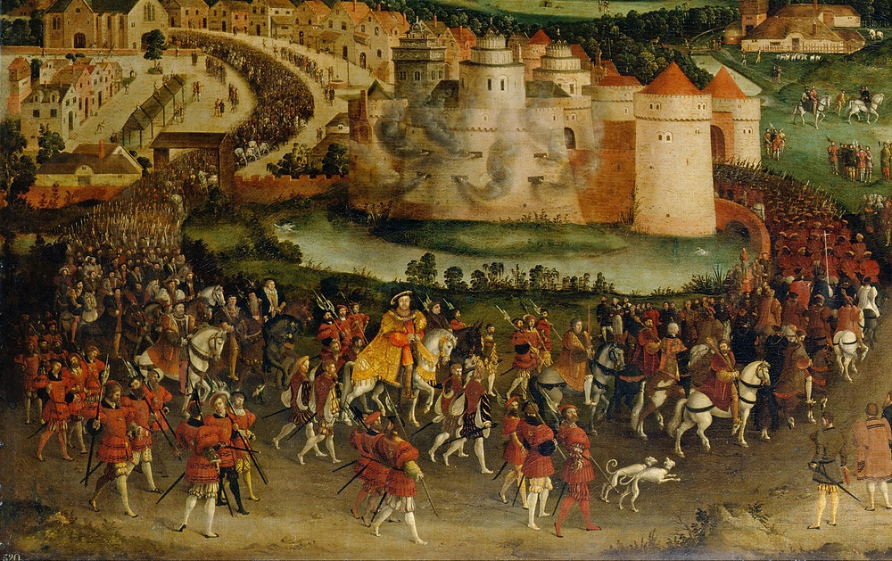 The field of cloth of gold 1520 - king Henry VIII & his men enter Guines. . Contemporary portrait painting ot the event