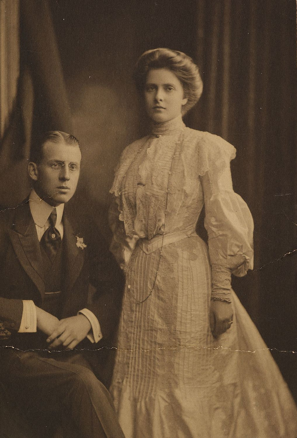 Prince Andrew of Greece and Denmark (1882-1944) and Princess Alice of Battenberg (1885-1969) 1903 . They are the parents of Prince Philip, Duke of Edinburgh & in-laws of Her Majesty the Queen
