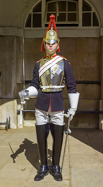 A soldier of the Blues & Royals on sentry duty
