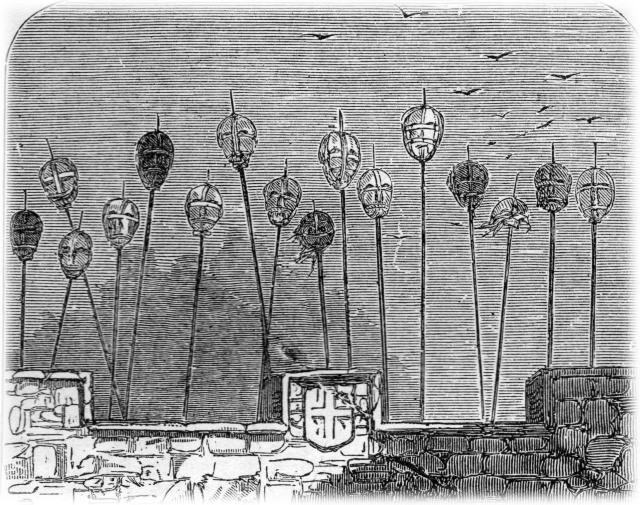 The spiked heads of executed criminals once adorned the gatehouse of the medieval London Bridge.