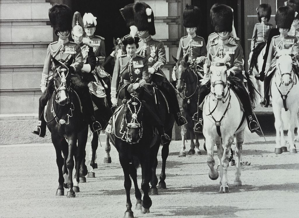 HM Queen Elizabeth II leaves Buckingham Palace for Trooping the Colour, Following on horseback are HRH The Duke of Edinburgh, HRH The Prince of Wales & The Duke of Kent & others. 3 Jun 1978 . Royal Collection Trust/(c) Her Majesty Queen Elizabeth II 2018