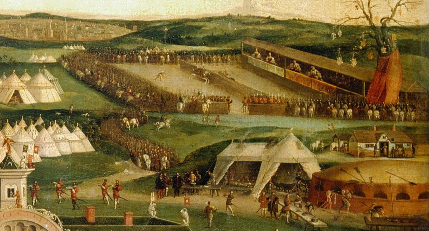 The tournament fields at the field of the cloth of gold, where jousting, archery, & sword fighting took place