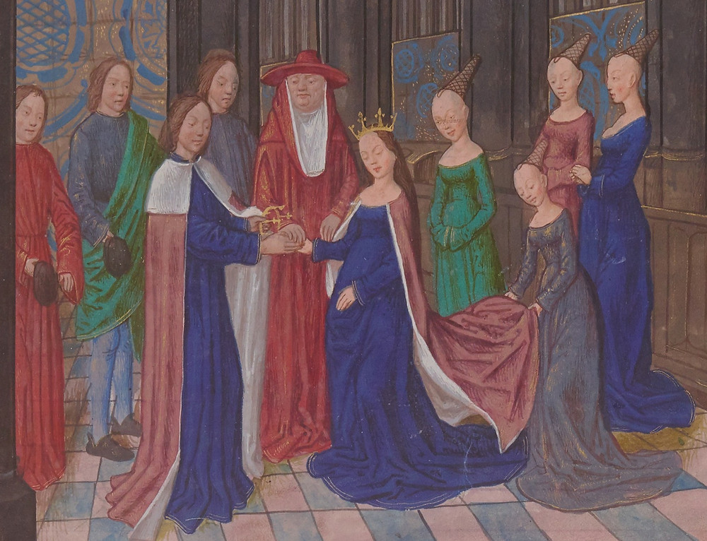 Illuminated miniature depicting the marriage of Edward IV and Elizabeth Woodville, Anciennes Chroniques d'Angleterre by Jean de Wavrin, 15th century