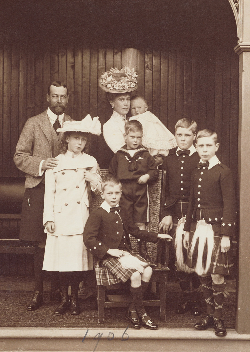 Photograph of King George V (1865-1936) and Queen Mary with their six children (from left to right): Princess Mary (1897-1965), Prince John (1905-19), in his mother's arms, Prince Henry (1900-74) (seated), Prince George (1902-42). Prince Edward (later King Edward VIII) (1894-1972), Prince Albert (later King George VI) (1895-1952)