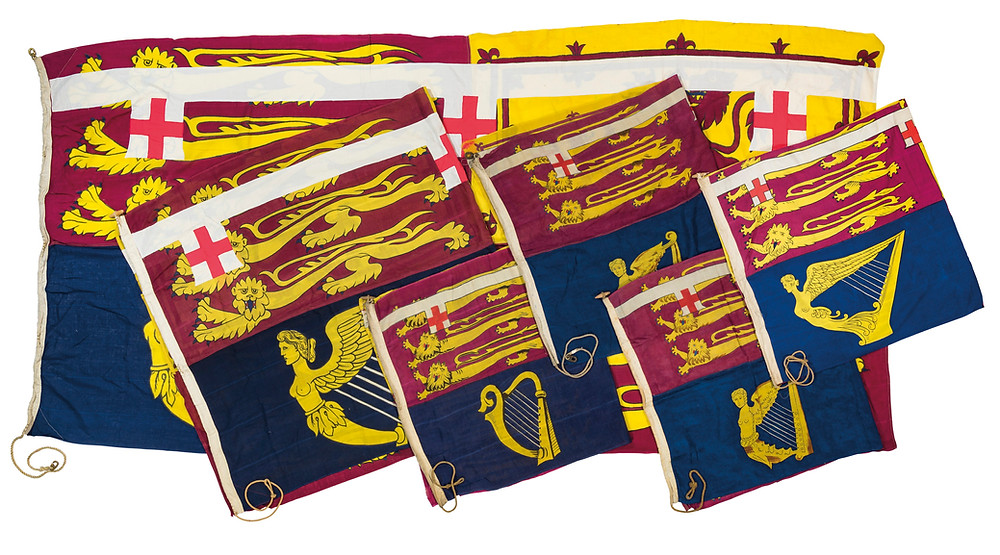 Four Royal Standards of H.R.H Princess Mary, Princess Royal & Countess of Harewood. IRST HALF 20TH CENTURY Each linen and with rope for attachment to a flagpole 89 in. (226 cm.) high; 35 1/2 in. (90 cm.) wide and similar Provenance  HRH The Princess Mary, Princess Royal, Countess of Harewood (1897-1965) and by descent at Harewood House, Yorkshire.. Royal family, history, British monarchy